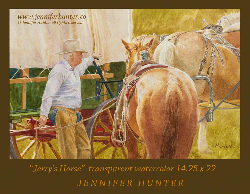 Jennifer Hunter Western Art Cowboy Art Covered Wagon Watercolor Jerrys Horse FB