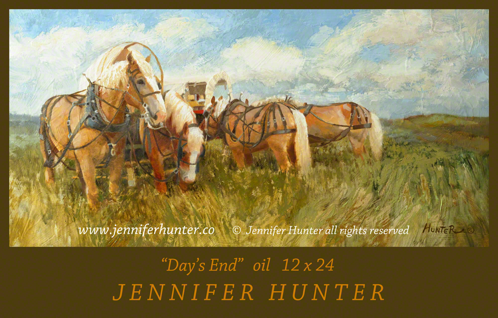 Oregon Trail covered wagon Belgian horses oil western art by Jennifer Hunter FB