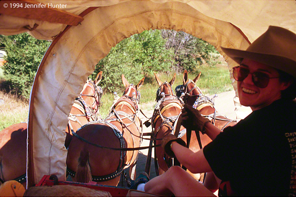 Web Colorado and Company KUSA Denver Channel 9 wagon train Jennifer Hunter driving mules
